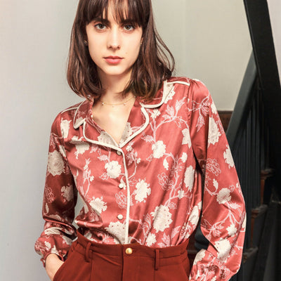 Camellia Printed Blouse-Red