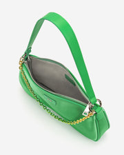 Eva Satin Gradient Chain Shoulder Bag - Grass Green
