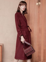 Adele Wool Coat - Wine Red