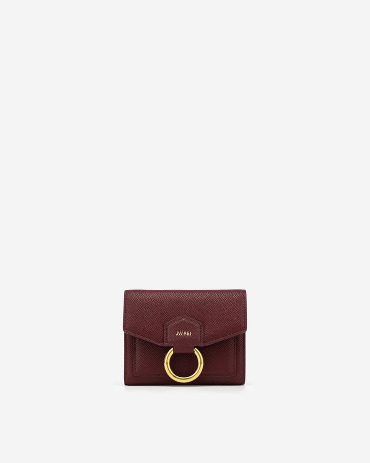 Stella Wallet - Burgundy Grained Vegan Leather