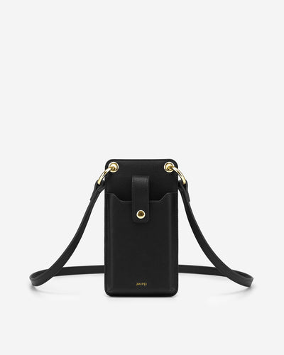 Quinn Phone Bag - Black Grained Vegan Leather