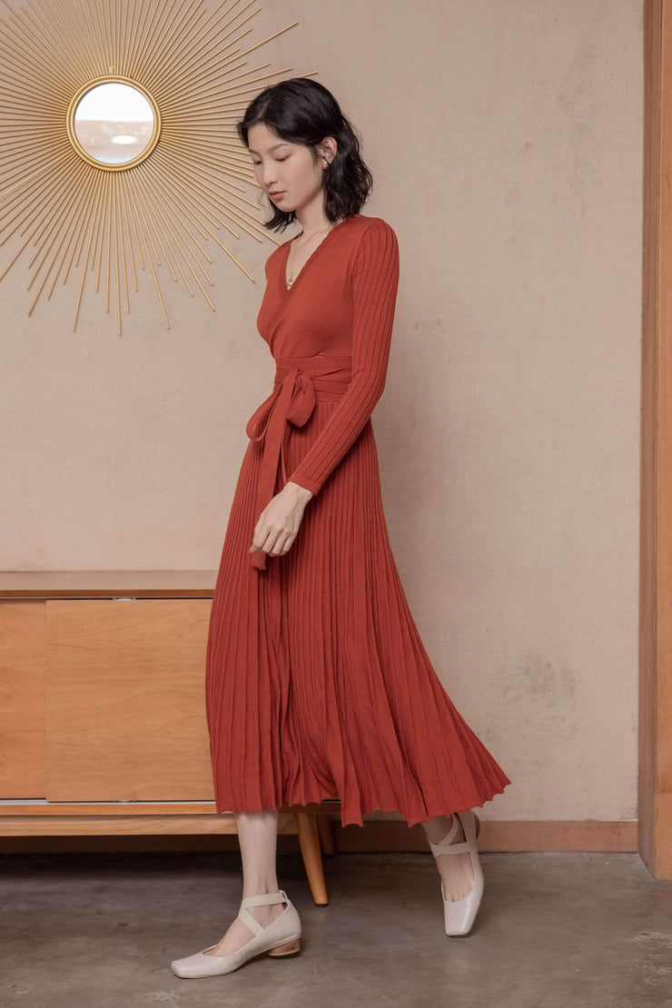 Emma Wool Dress - Maple Red