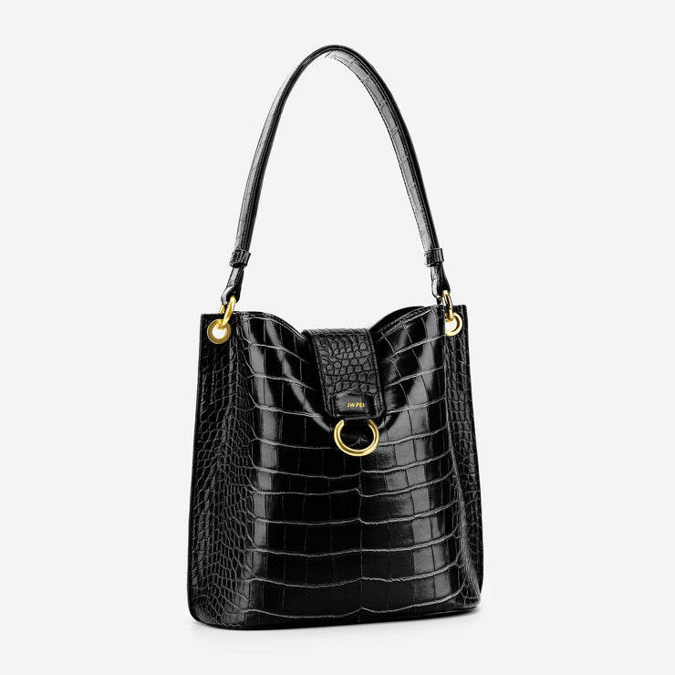 Josie Bucket Bag - Black Croc
