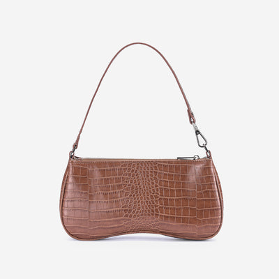 Eva Shoulder Bag - Light Brown Croc