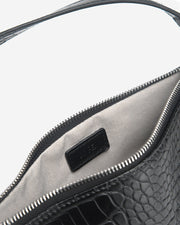 Eva Shoulder Bag - Black Croc