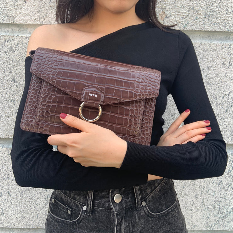 The Envelope Crossbody - Black Croc