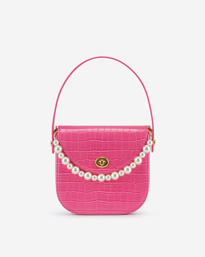 Kate Faux Pearl Bag - Pink Croc