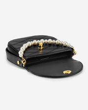 Kate Faux Pearl Bag - Black