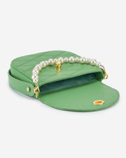 Kate Faux Pearl Bag - Grass Green