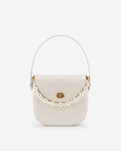 Kate Faux Pearl Bag - White