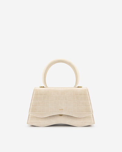 Molly Top Handle Bag - Light Beige Croc