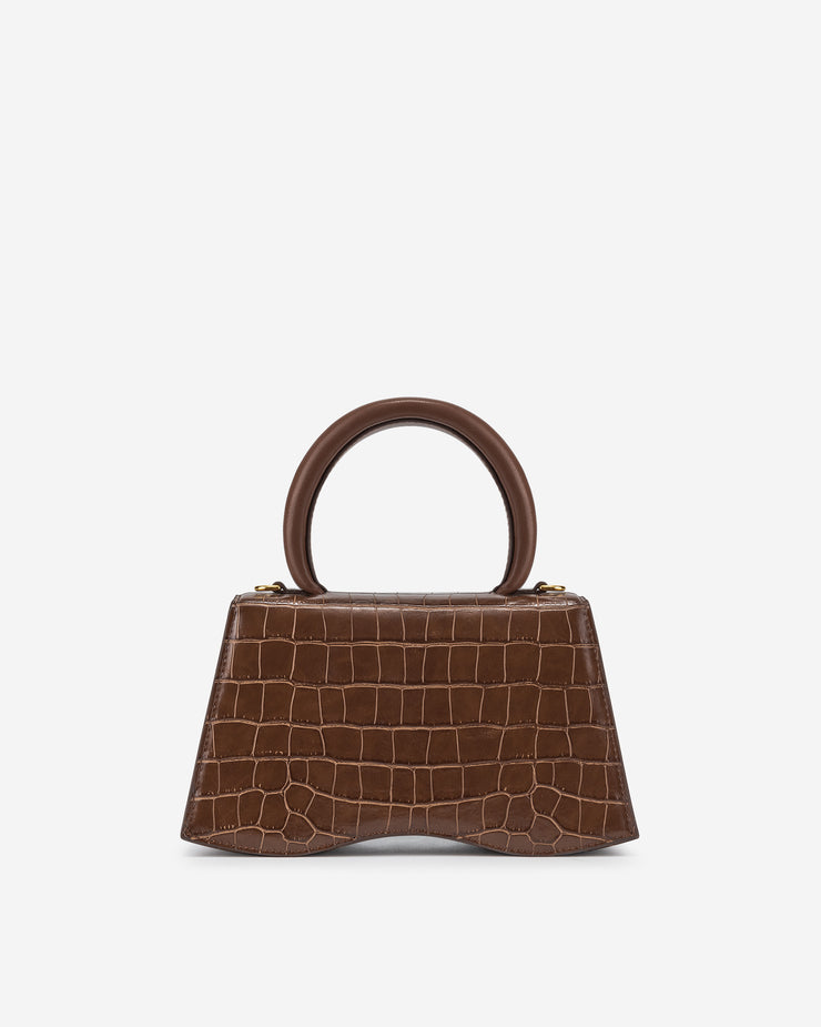 Molly Top Handle Bag - Brown Croc