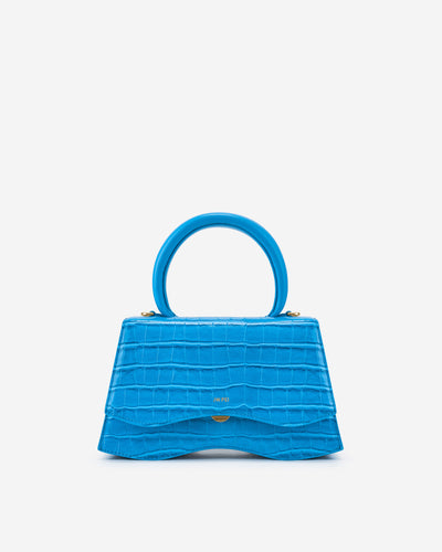 Molly Top Handle Bag - Lake Blue Croc