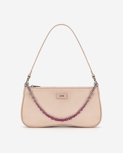 Eva Satin Gradient Chain Shoulder Bag - Beige
