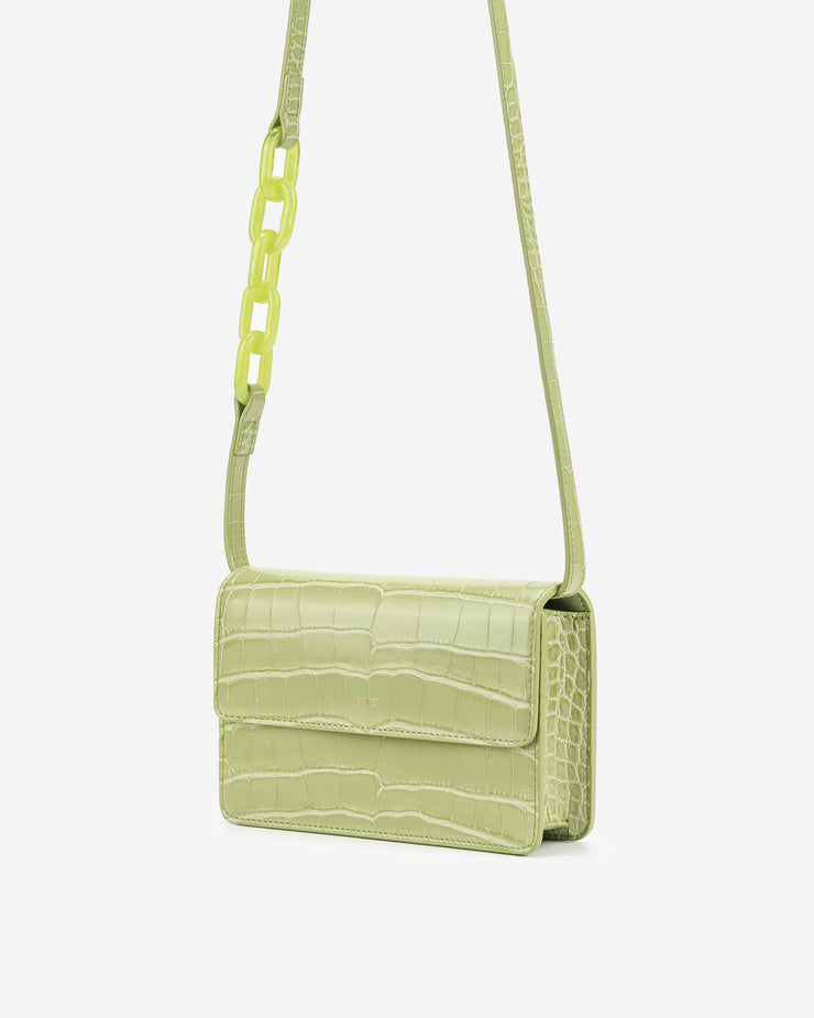 Julia Acrylic Chain Crossbody Bag - Sage Green Croc