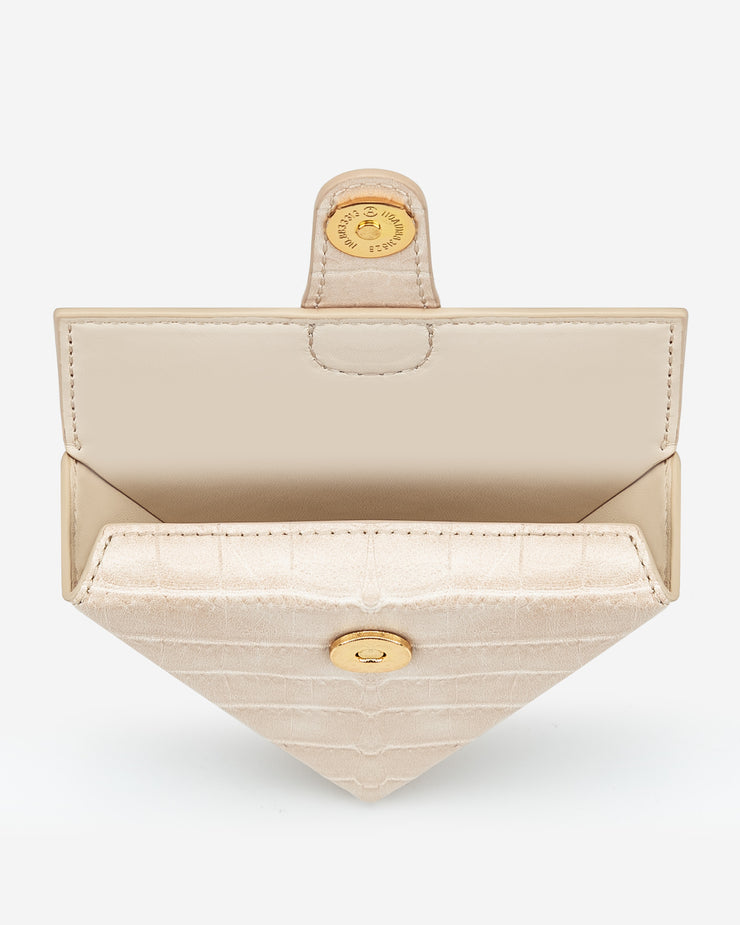 Triangle Mini Box - Light Beige Croc