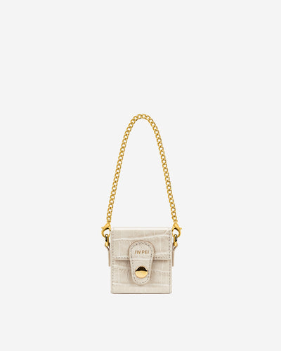 Square Mini Box - Ivory  Croc