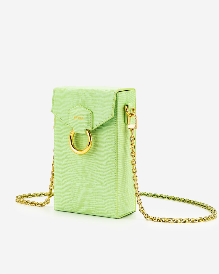 Lola Gradient Chain Phone Case - Lime Green Lizard