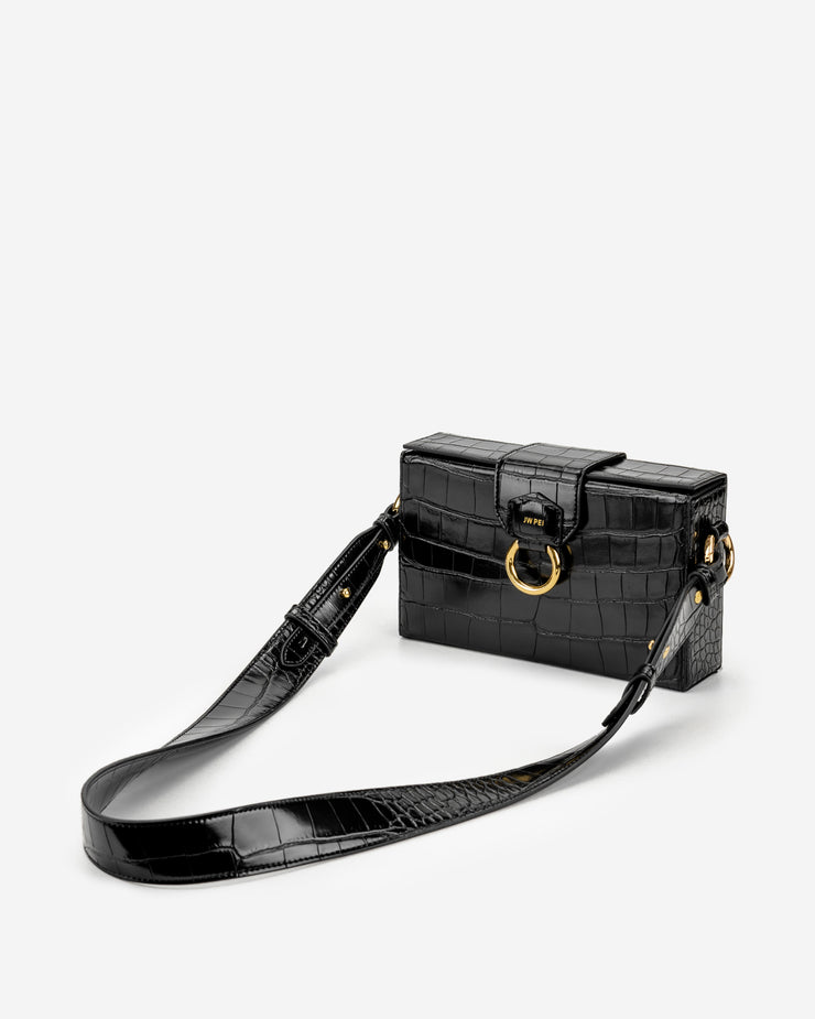 Grace Box Bag - Black Croc