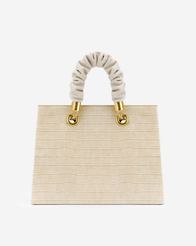 Ella Top Handle Bag - Light Beige Croc