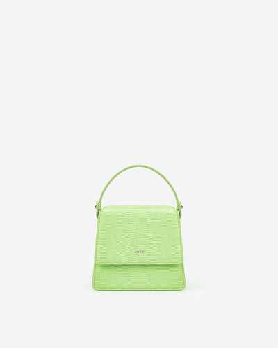 Fae Mini Top Handle Bag - Lime Green Lizard