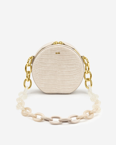 Luna Gradient Acrylic Chain Circle Shoulder Bag - Ivory Croc