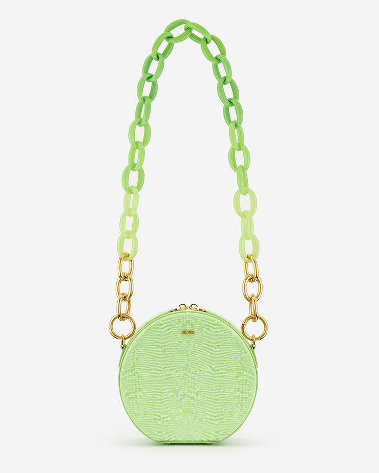 Luna Gradient Acrylic Chain Circle Shoulder Bag - Lime Green Lizard