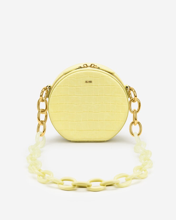 Luna Gradient Acrylic Chain Circle Shoulder Bag - Light Yellow Croc