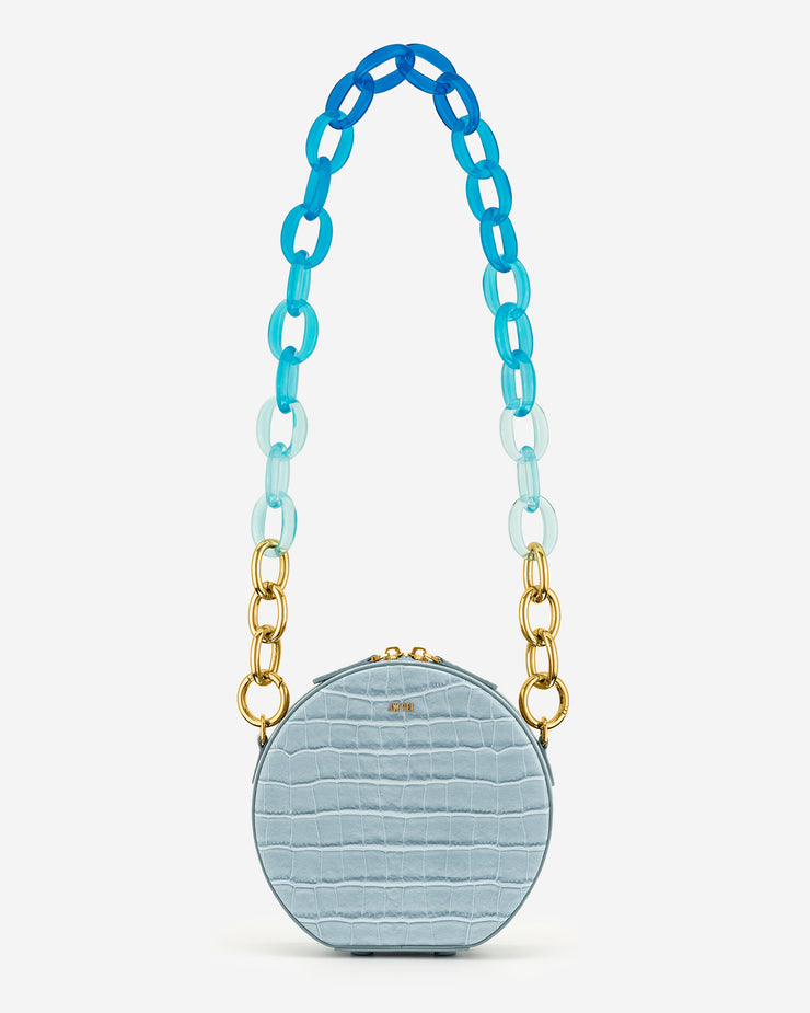 Luna Gradient Acrylic Chain Circle Shoulder Bag - Ice Croc