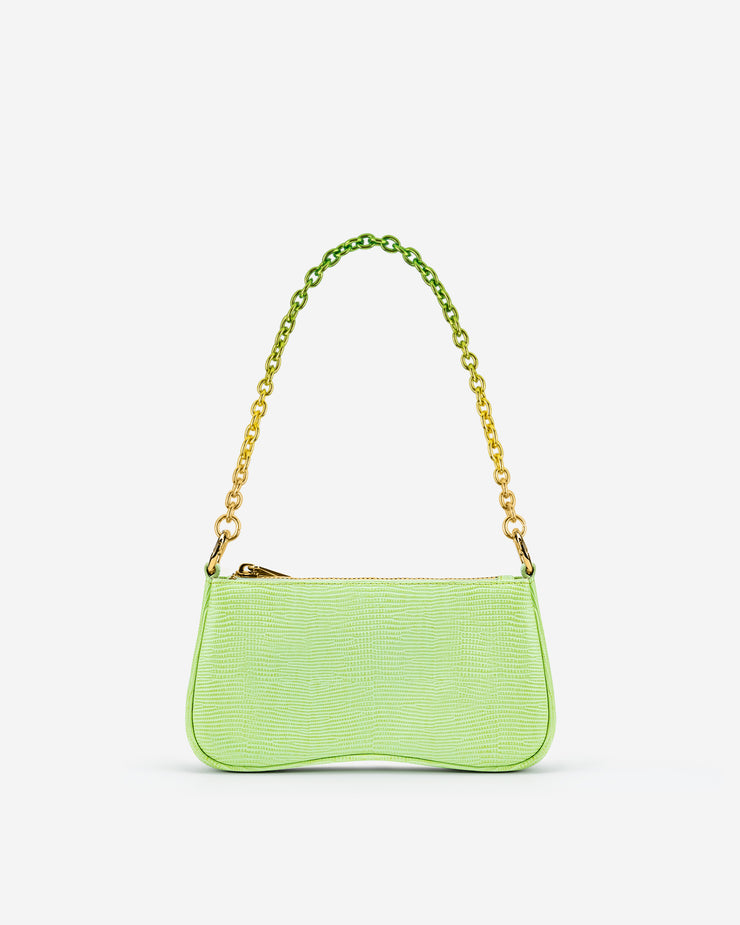Eva Mini Gradient Chain Shoulder Bag - Lime Green Lizard