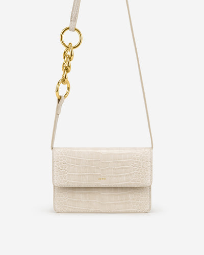 Julia Chain Crossbody Bag - Ivory  Croc