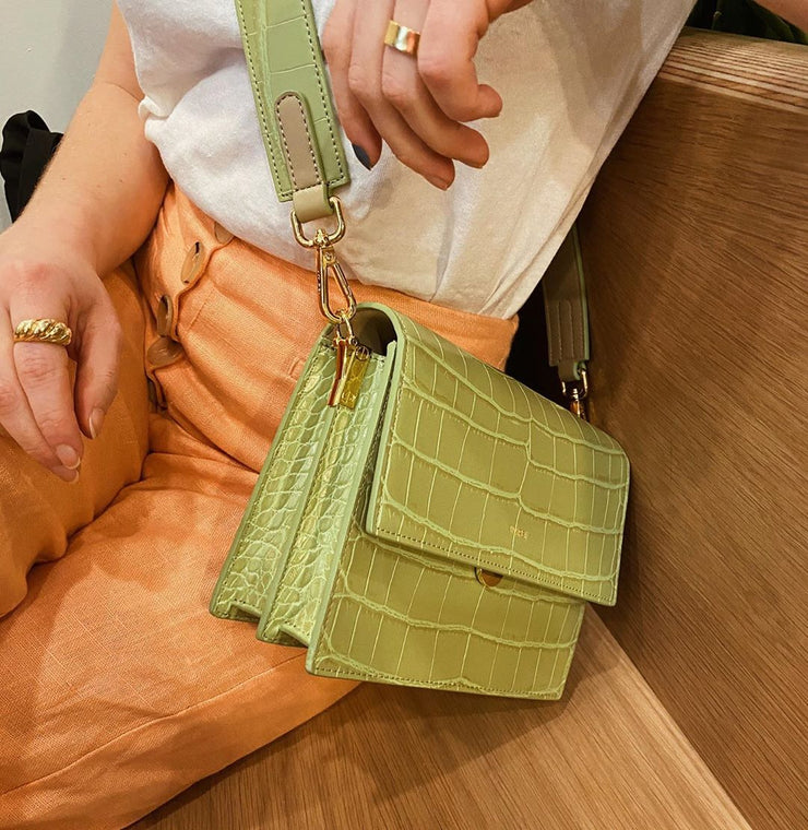 Mini Flap Bag - Sage Green Croc