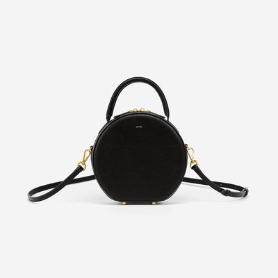 Mini Circle Top Handle Bag - Black