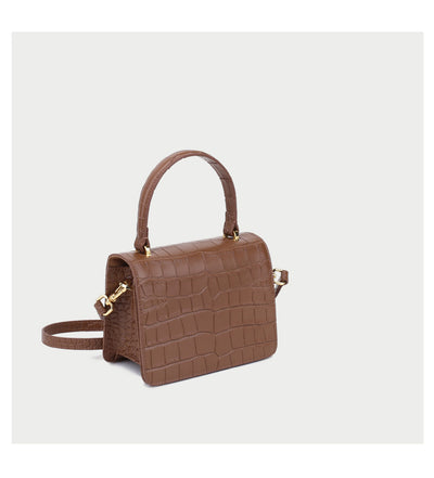 Mini Square Top Handle Bag - Tan Croc