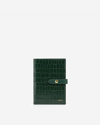 Quinn Passport - Dark Green Croc