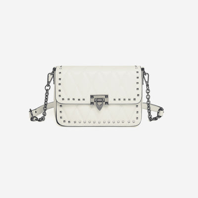 The Quilted Crossbody Bag With Rivets - White