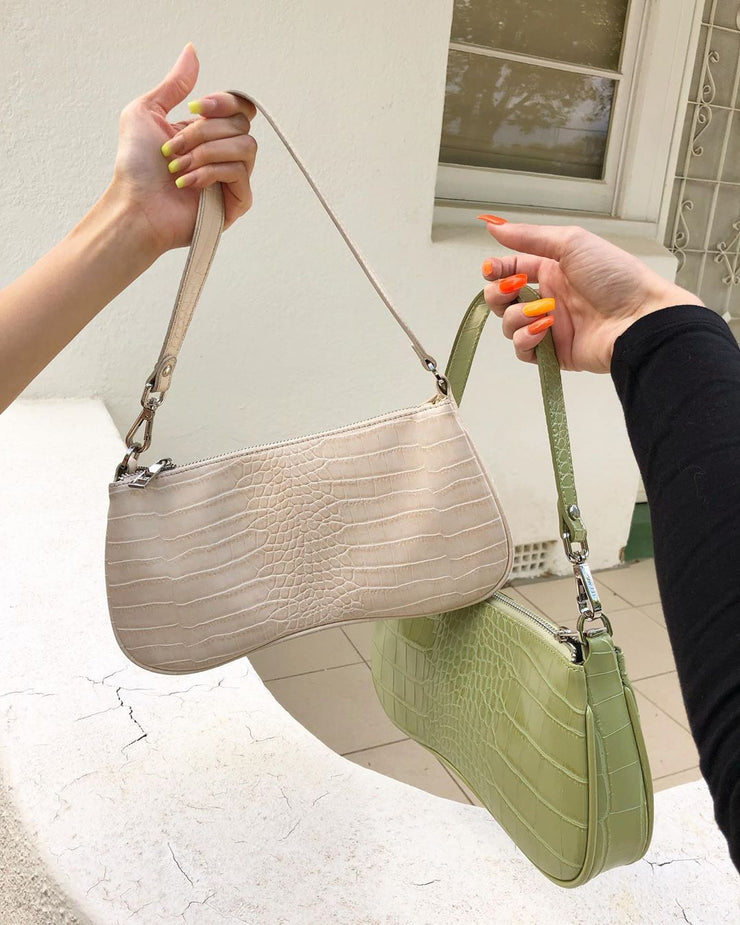 Eva Shoulder Bag - Sage Green Croc
