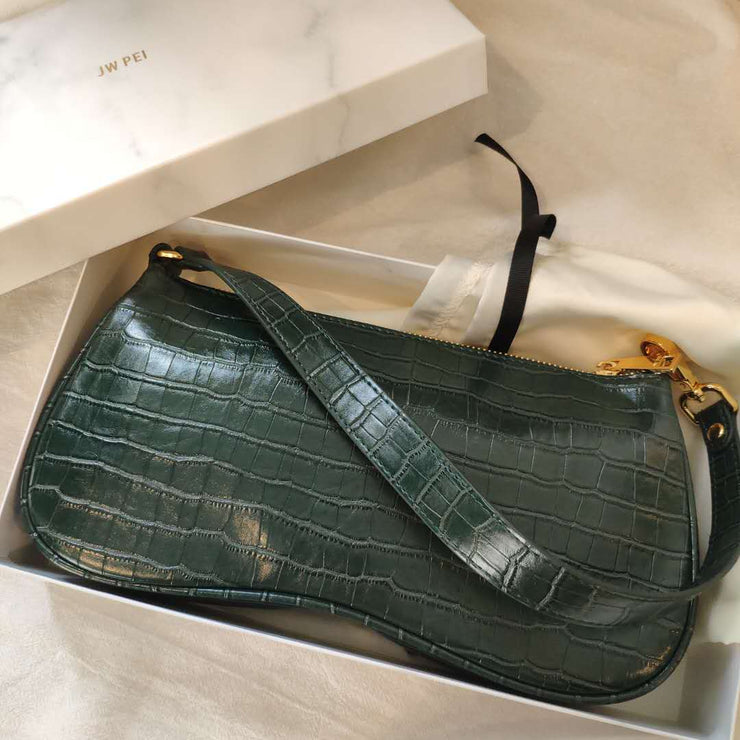Eva Shoulder Bag - Dark Green Croc