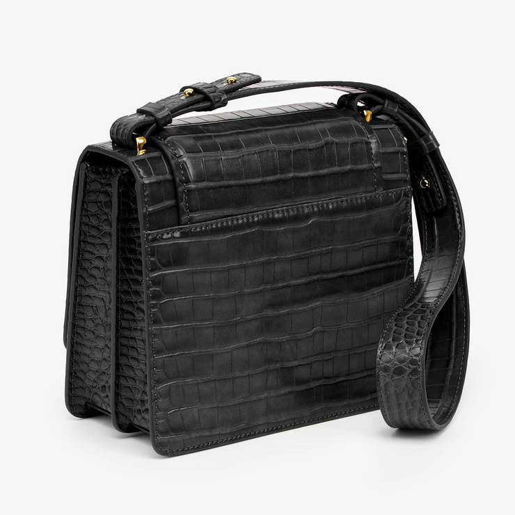 The Fiona Bag - Black Croc