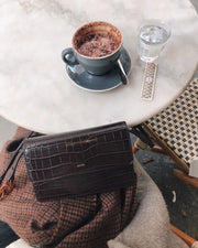 Julia Acrylic Chain Crossbody Bag - Nutella Croc