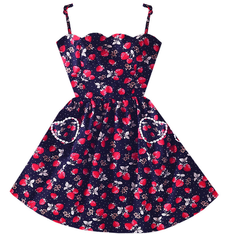 Midnight Strawberry Heart Pocket Dress