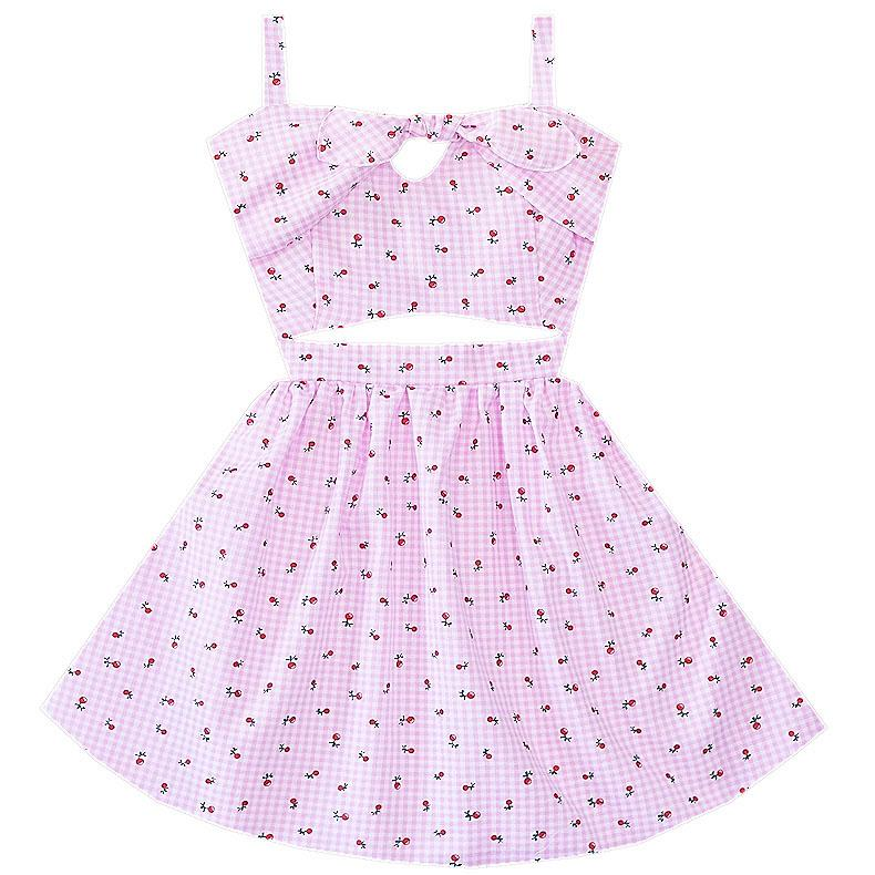 Cherry Picnic Cutout Dress