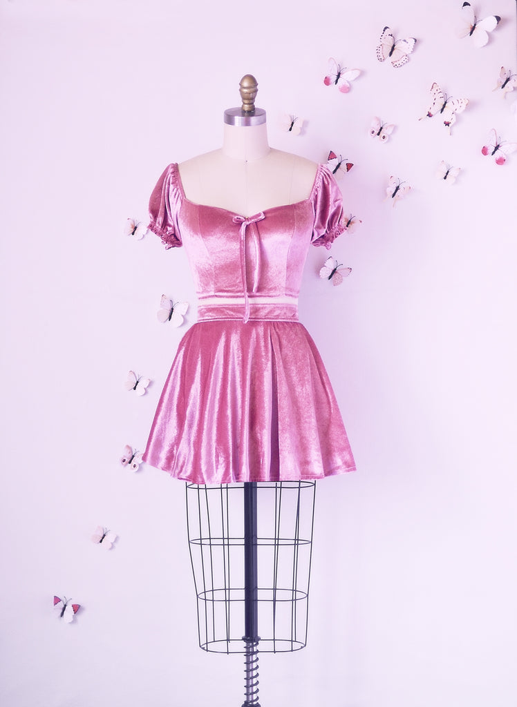 Rosy Velvet 2 Piece Dress
