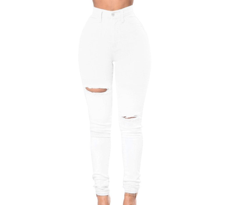 Delilah Distressed White Pant