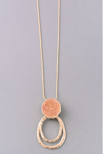 Peach Elongated Druzy Stone Pendant Necklace