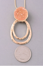Load image into Gallery viewer, Peach Elongated Druzy Stone Pendant Necklace