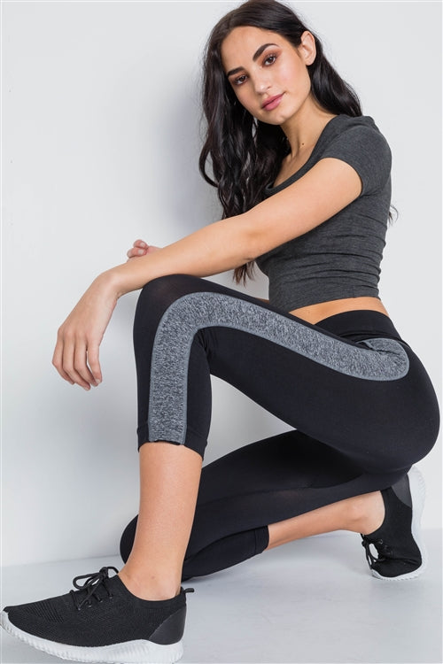 Sport Black Grey Contrast Legging
