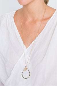 Gold Caged Jewel Charm Necklace