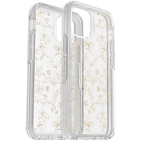 glittery case from OTTERBOX to make your iphone 12 mini more stand out and elegant with gold flower design, buy online at syntricate Asia.