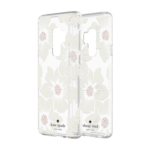Shop KATE SPADE NEW YORK PROTECTIVE HARDSHELL CASE FOR GALAXY S9 PLUS - HOLLYHOCK FLORAL CLEAR/CREAM WITH STONES Cases & Covers from Kate Spade New York